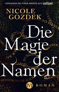 """Buchcover zum Fantasyroman """"Die Magie der Namen"""" mit verschlungenen Namenszügen"""