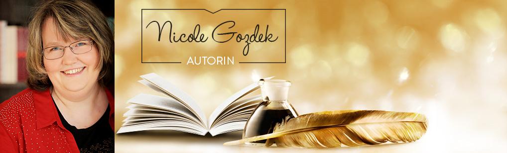 Autoren-Banner mit Buch, Tintenfass, Feder und Foto