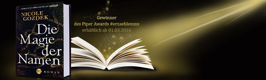 """stehendes und liegendes, aufgeschlagenes Buch zu """"Die Magie der Namen"""""""