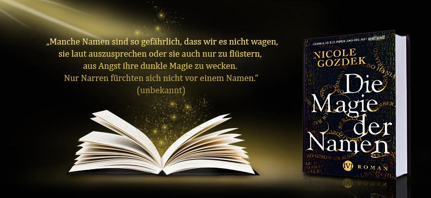 """Banner mit Büchern und einem Zitat aus """"Die Magie der Namen"""""""