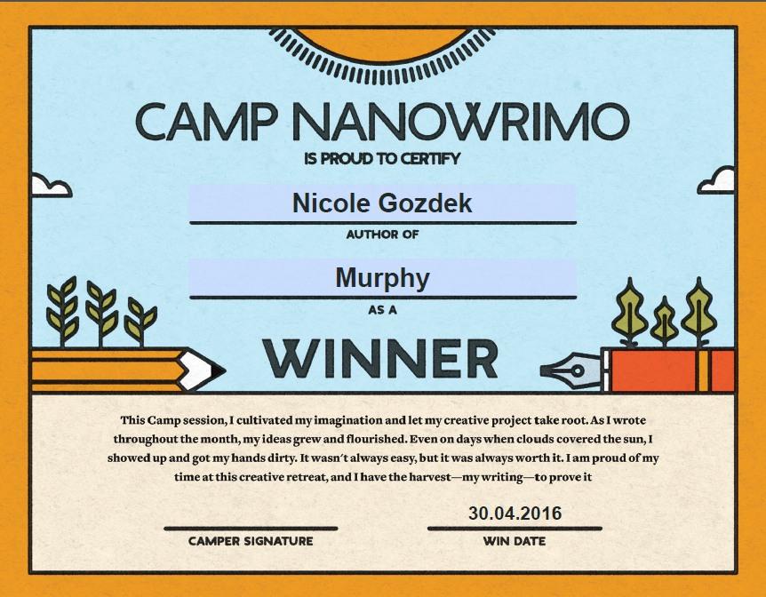 Gewinner-Zertifikat vom Camp NaNoWriMo