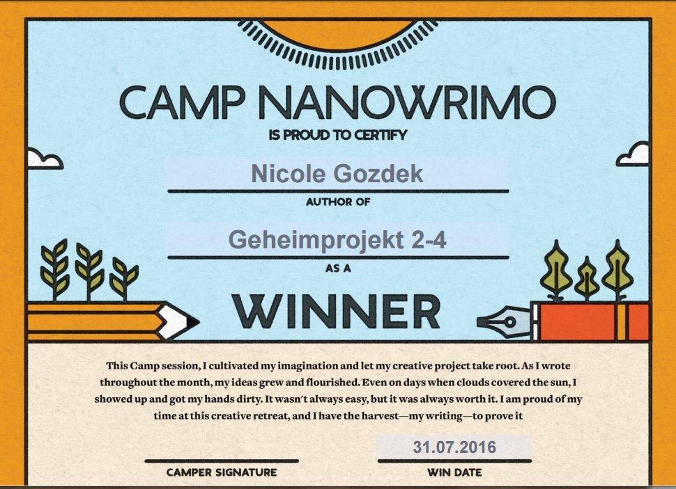 Gewinner-Zertifikat für das Camp NaNoWroMo im Juli 2016