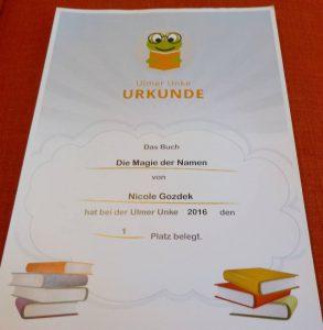 Urkunde über den Gewinn der Ulmer Unke 2016