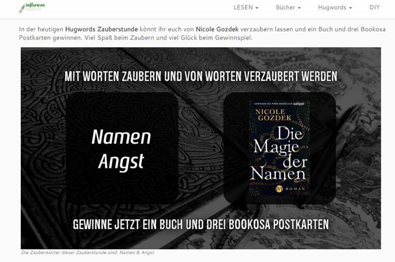 """Banner mit Notizbuch, Roman """"Die Magie der Namen"""" und Schrift"""