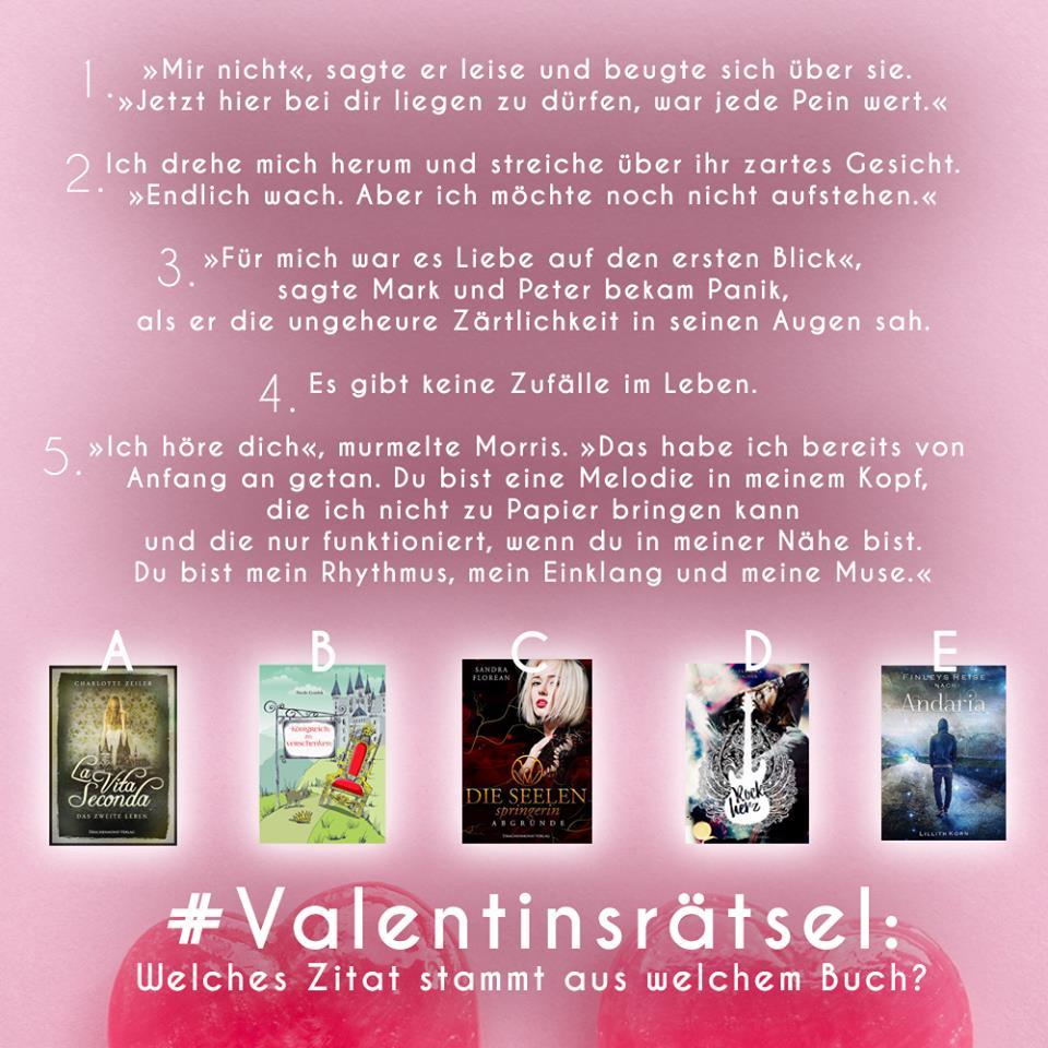Valentinsrätsel mit 5 Zitaten aus 5 Büchern
