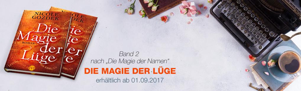 """Banner mit 2 Büchern von """"Die Magie der Lüge"""" und Schreibmaschine"""