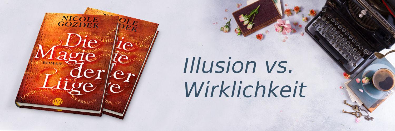 """Banner mit """"Illusion vs. Wirklichkeit"""" und 2 Büchern"""