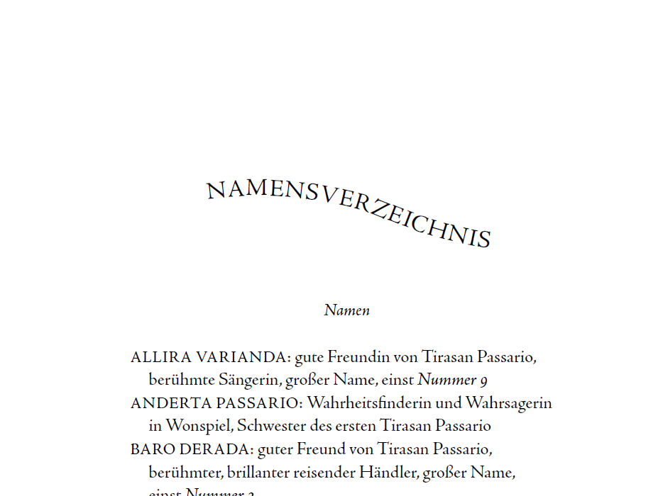 """Screenshot vom Namensverzeichnis in """"Die Magie der Lüge"""""""
