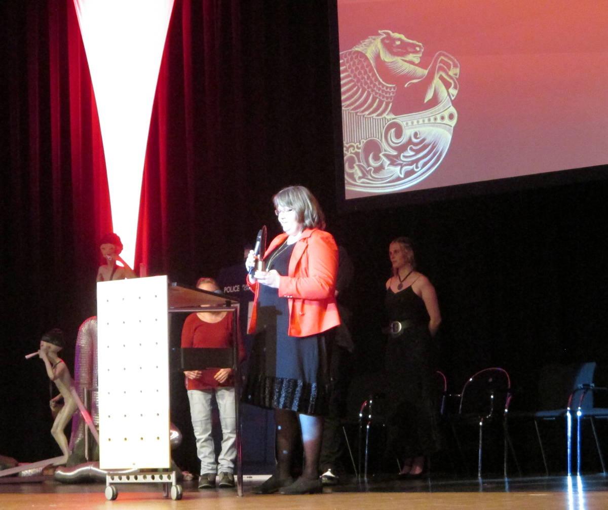 ich bei der Dankesrede bei der Verleihung des Deutschen Phantastik Preises