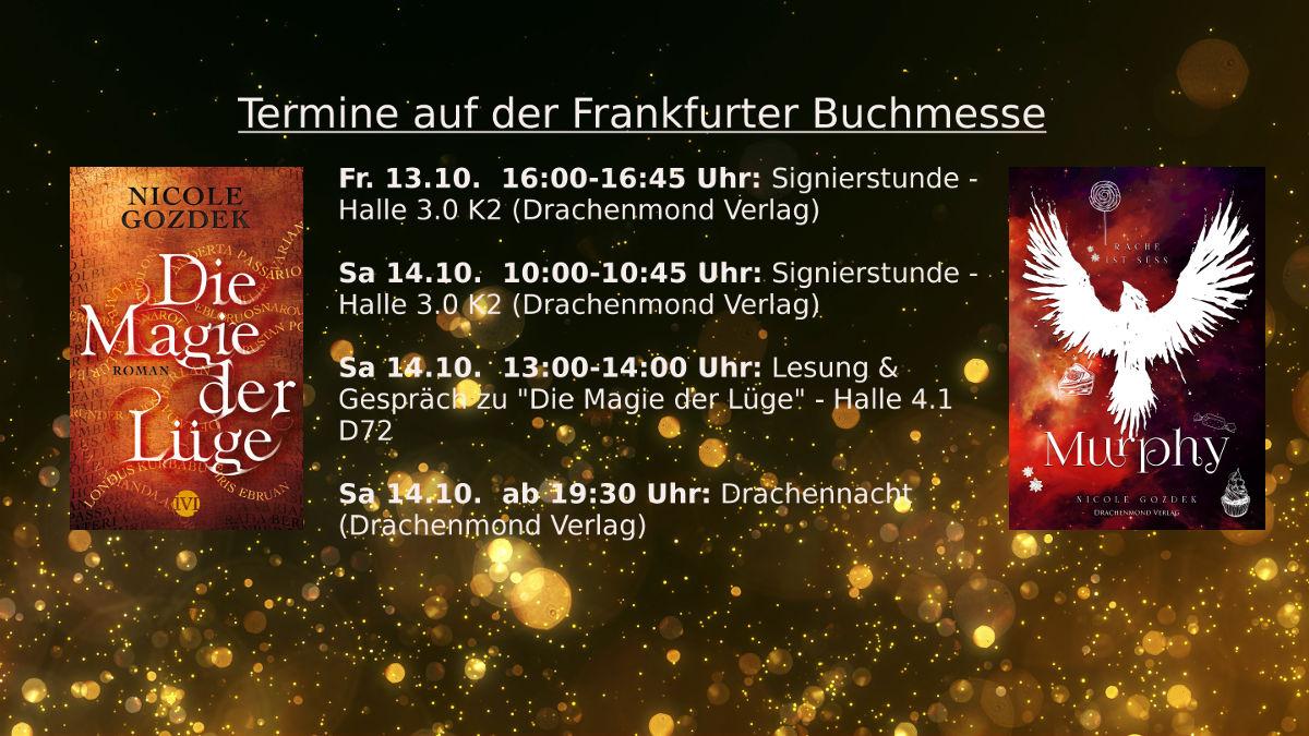 Termine auf der Frankfurter Buchmesse und zwei meiner Buchcover