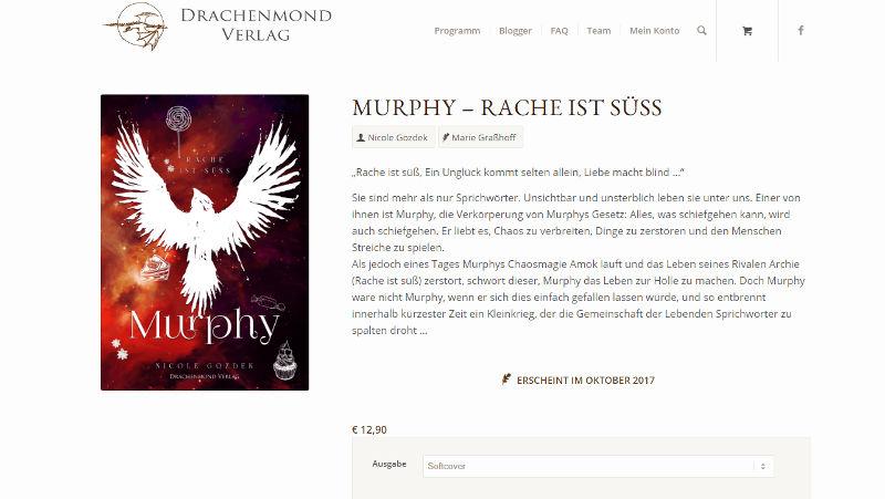 """Screenshot: """"Murphy - Rache ist süß"""" auf der Seite des Drachenmond Verlags"""