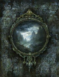 Düsterer Spiegel zeigt eine dunkle märchenhafte Fantasywelt
