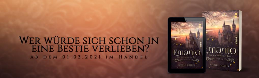 """Banner zum Buch und E-Book von """"Emanio - Der Schöne und das Biest"""" mit Zitat und Ankündigung des Erscheinens am 1.3.2021"""
