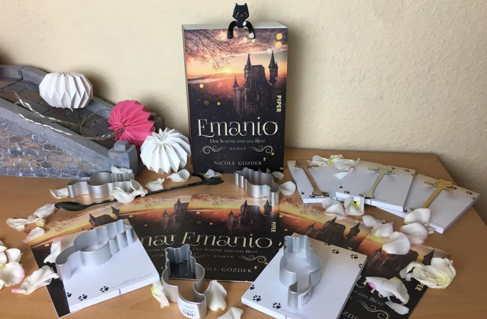 """Roman """"Emanio - Der Schöne und das Biest"""", Blöcke, Ausstechformen und Löffel mit Katzen-Motiven sowie Postkarten zum Roman"""