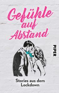 graues Buchcover: junge Frau und junger Mann schieben die Masken nach unten, um sich zu küssen